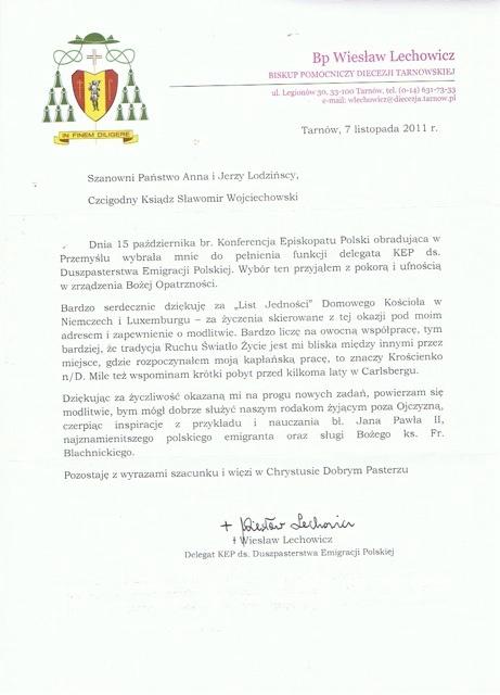 Odpowiedź bp Lechowicza na List jedności ze spotkania par rejonowych