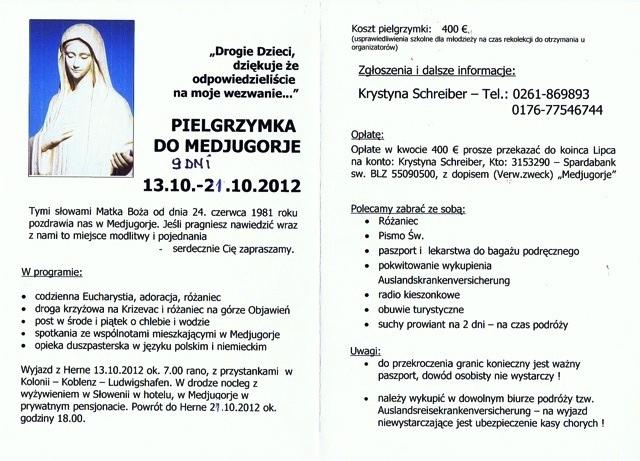 Wolne miejsca na Pielgrzymke do Medjugorje 13.10-21.10.2012